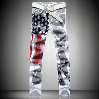 2017 New Arrival Men Casual American USA Flag Printed Jeans Pants Mens Graffiti Print White Hip