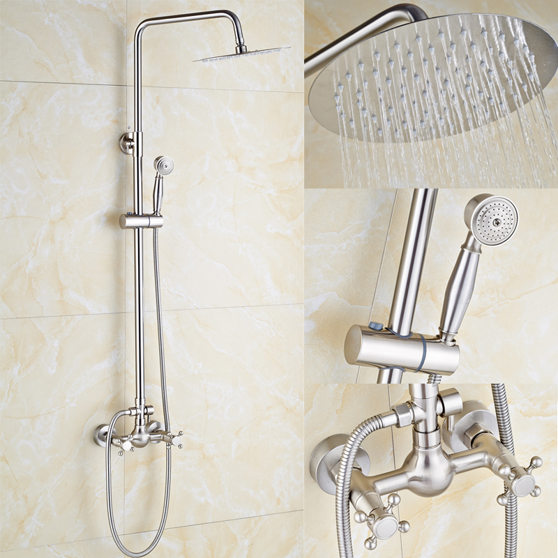 Nickel Brushed Rainfall Shower Head Bathroom Shower Faucet with Hand Shower Wall Mount