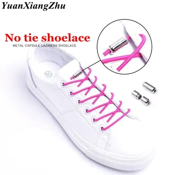 1Pair Metal Capsule Shoelaces No Tie Shoelace Elastic Shoe Laces Round Children Leisure Quick Sport Unisex