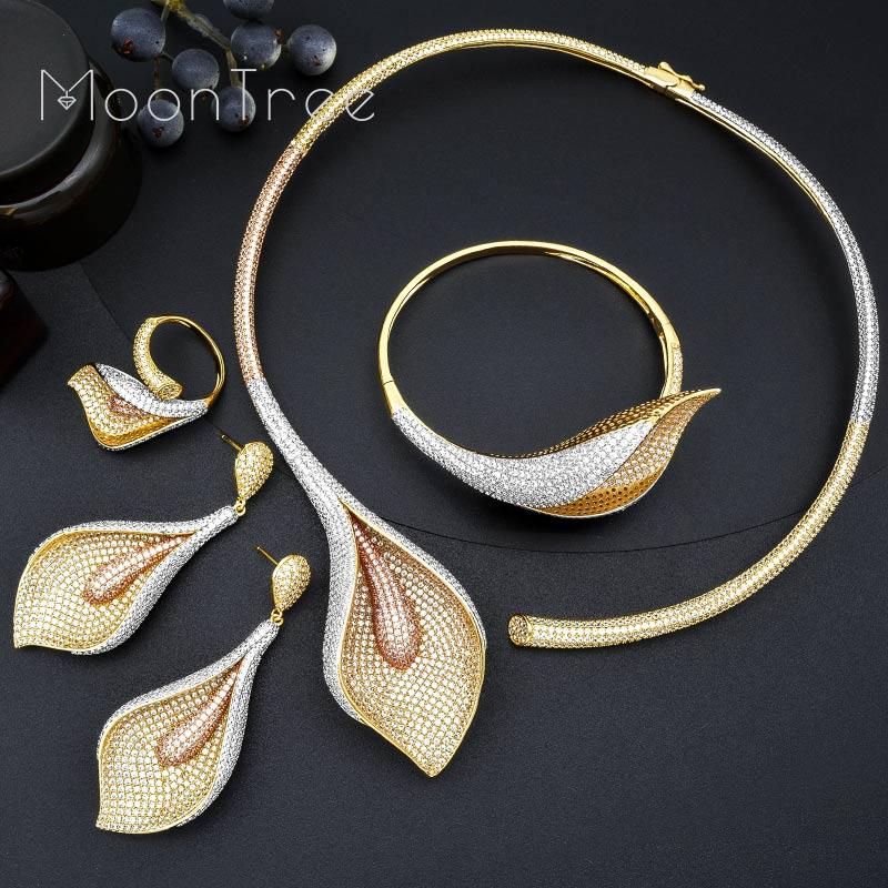 MoonTree Роскошные цветок лилии полный Micro AAA кубического циркония медь для женщин цепочки и ожерелья серьги комплект ювелирных изделий «Дубай»