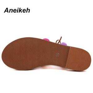 Image 5 - Aneikeh 2020 Sandalias Pompones Suede Pom Pom Gladiator Sandals Women Lace up Knee High Flat Sandal Women Shoe Summer Brown