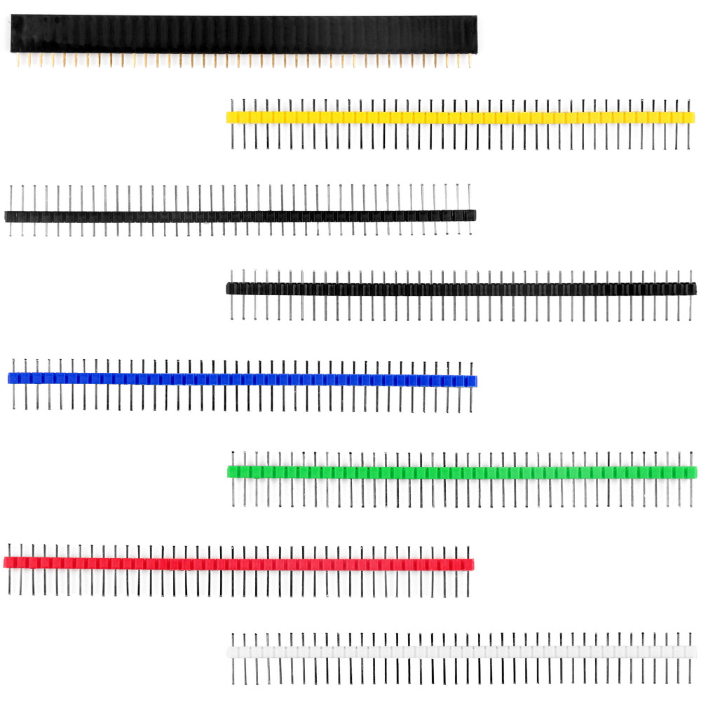 Areyourshop 12Pcs 40Pin Male Single Row Straight Strip Pin Header PCB Panel 2.54mm 6Colors hot factory direct wholesale idc40 male plug 40pin port header terminal breakout pcb board block 2 row screw