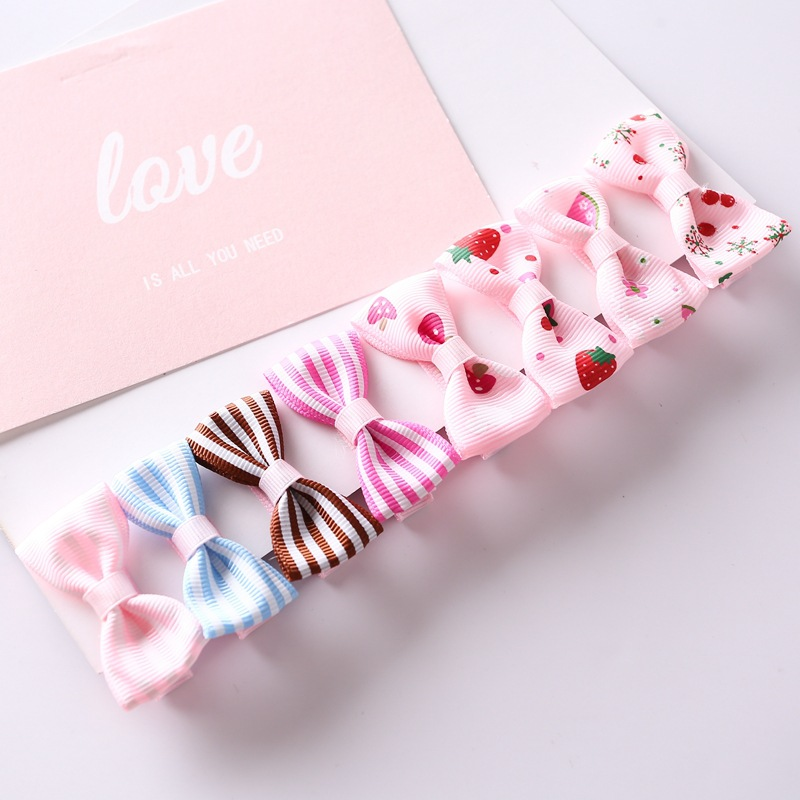1Set=8pcs Multi-style Ribbon Bow Flower Hairpins Hair Barrettes Children Accessories Cute Baby Girls   Headwear   Hair Clip