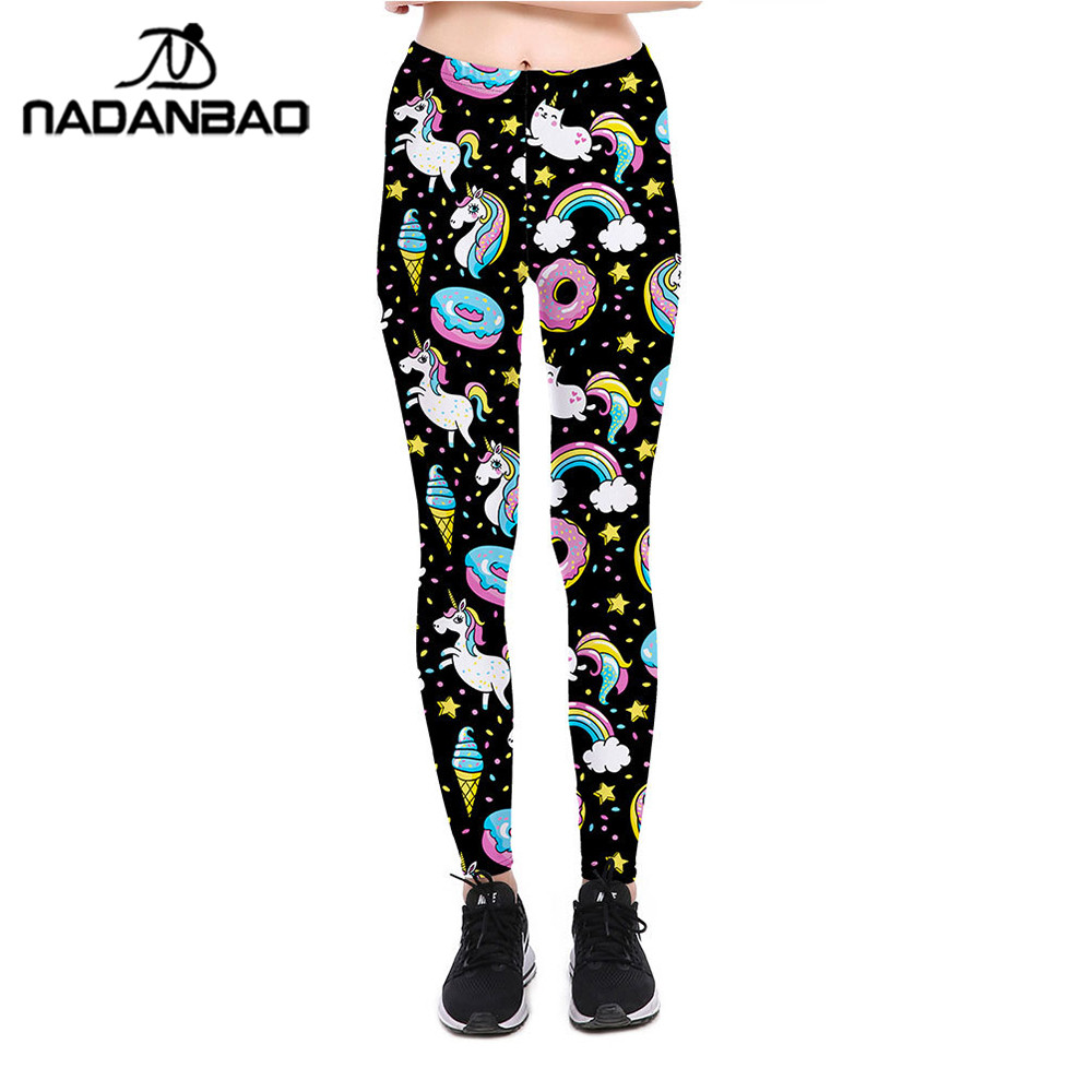 NADANBAO Unicorn 2018   Leggings   Women Galaxy Sky Star Ring Rainbow Digital Print Leggins Plus Size Elastic Workout Pants