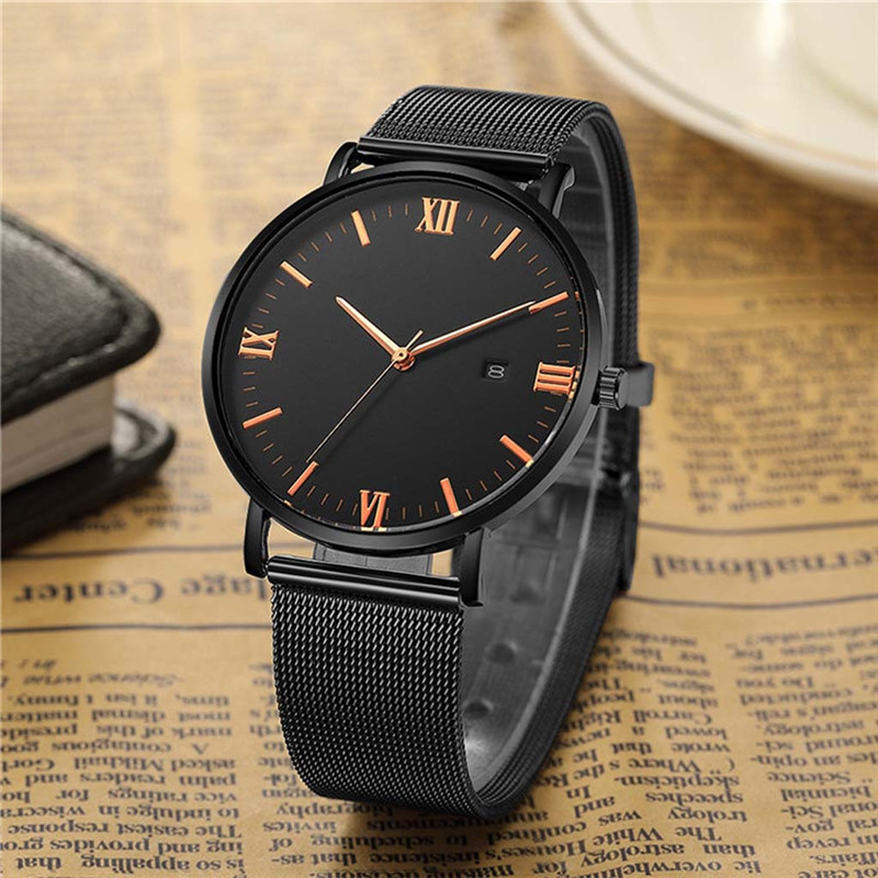 2019 Luxury Mens Quartz Watches Fashion Male Clock Men Watch Temperament Stainless Steel Mesh Belt Calendar WristWatches A4