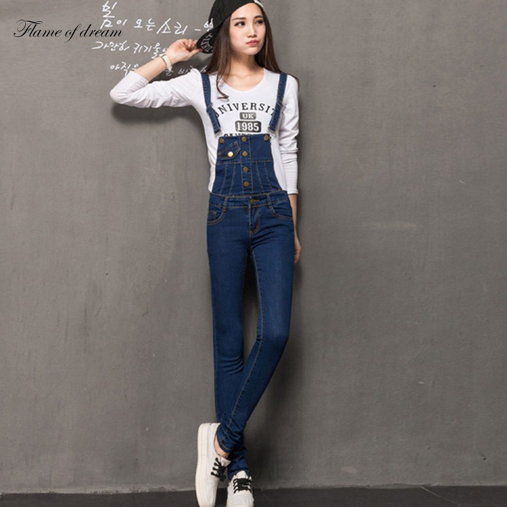 Plus Size Pants The Spring New Jeans Pants Suspenders Ladies Denim Trousers Elastic Braces Bib Overalls for women Dungarees free shipping 2016 plus size denim bib pants halter neck jumpsuit and rompers for women suspenders jeans ol straight trousers xl