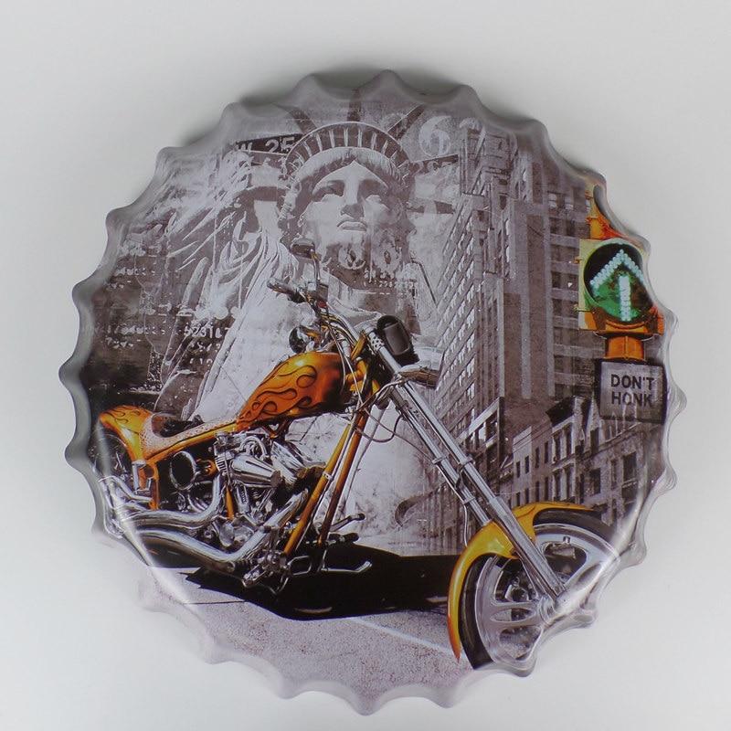 Blikken motorborden Reliëf Ronde dop van de fles Vintage blikken bord Bar Pub Thuis Wall Decor Metal Art Poster 3D-stijl 40 CM