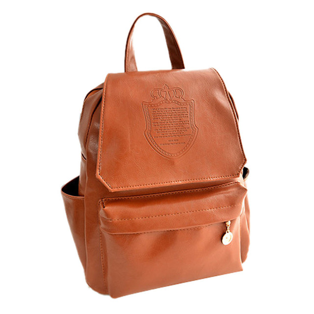 da70de13216 2015 New Fashion Women Backpack PU Leather Double Root Simple Printing Shoulder  Bag Tide Female Bag Younth Backpack Bags