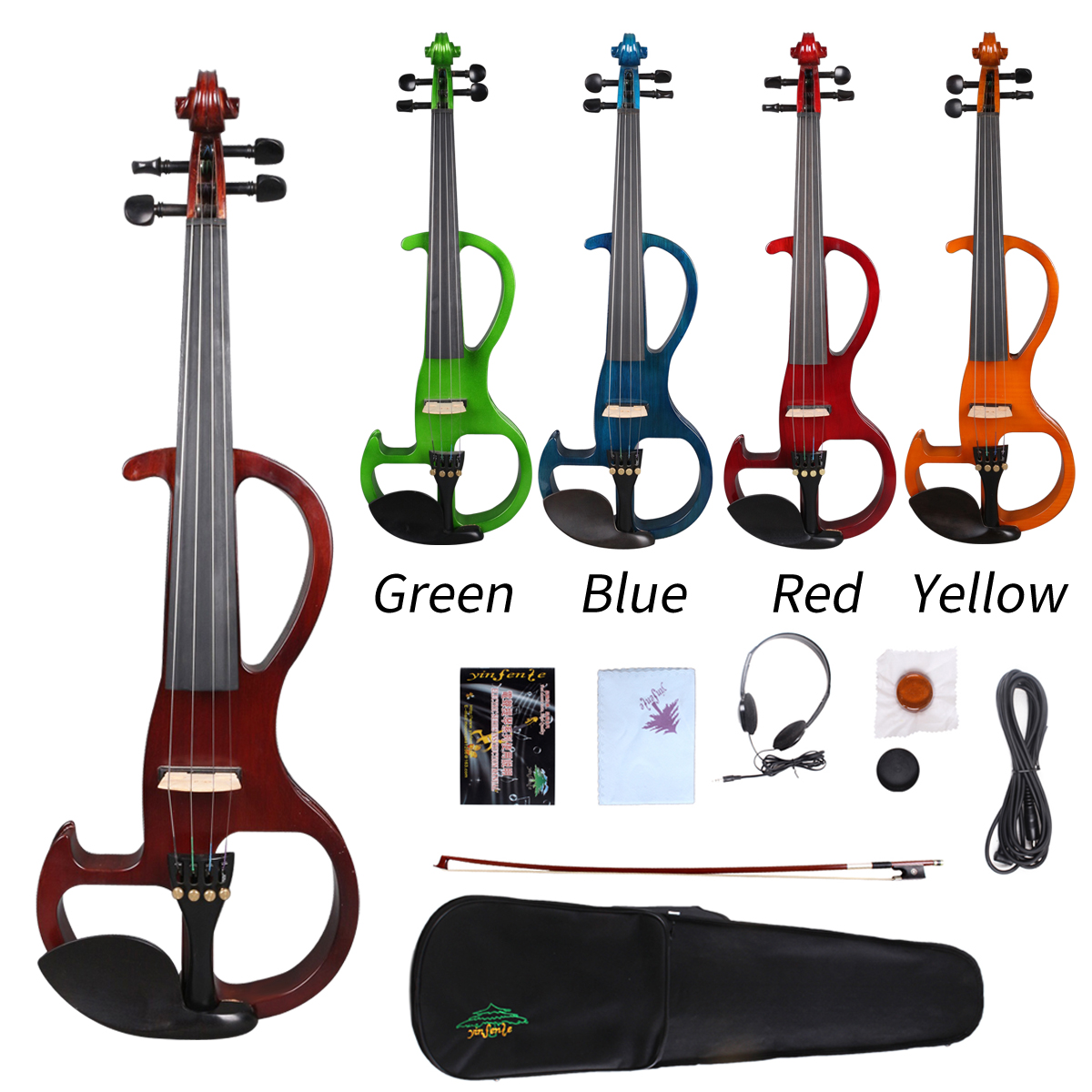 Yinfente Electric Silent Violin 4/4 Wooden Body Sweet Sound Free Case BowYinfente Electric Silent Violin 4/4 Wooden Body Sweet Sound Free Case Bow