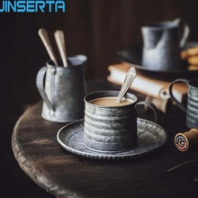 JINSERTA bandeja de almacenamiento de Metal Retro Drinkware Vintage florero de hierro forjado taza de Asa antigua comida fruta café taza decoración hogareña Cocina