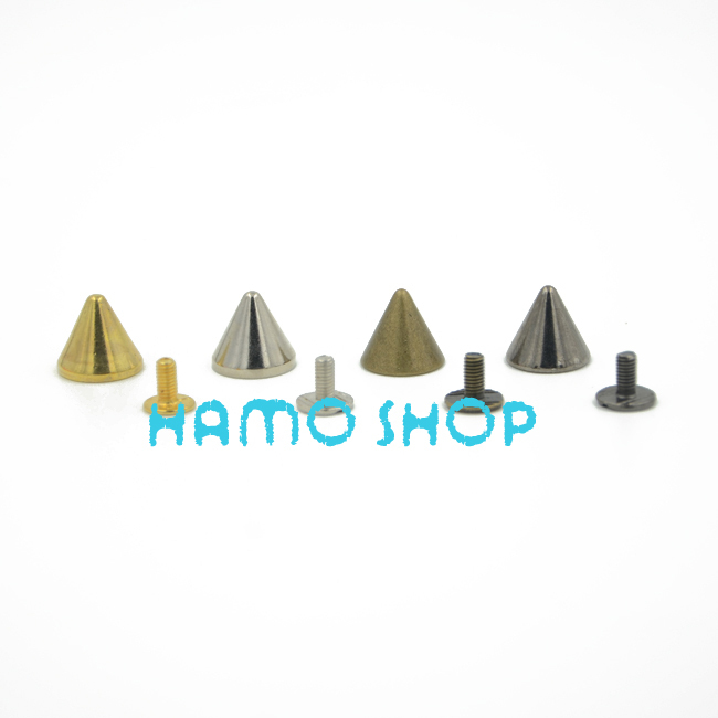 10pcs lot 12x11mm Rivet Cone Spikes Spots Screw Studs Punk Leather Rock Back Craft DIY Bullet Free Shipping in Garment Rivets from Home Garden