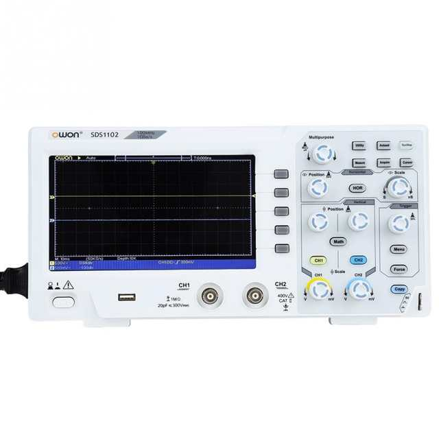 OWON Digital Storage Oscilloscope 2-Channel 100MHZ Bandwidth 1GS/s High  Accuracy Oscilloscope for Testing circuit US/EU Plug