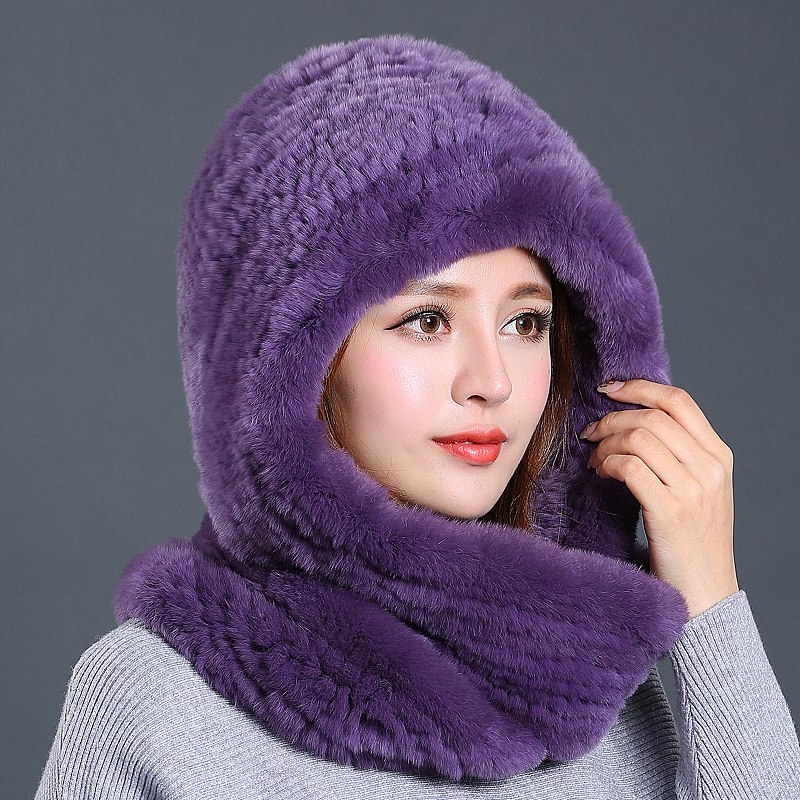 2018 Women New Rex Rabbit Fur Hat Thermal Winter Outdoors Thicked Warm Windproof Knitting Female Adult Hats and Scarf Casual