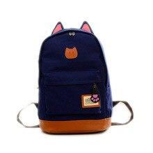 2016 новая мода милый кот черный рюкзак для девочек с кошкой уши холст сумка рюкзак прилив путешествия рюкзаки мужчины женщины студент