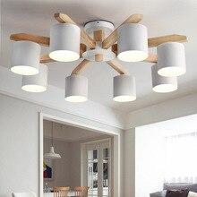 الشمال الثريا الحديثة LED الثريا E27 مع عاكس الضوء الحديد لغرفة المعيشة تعليق تركيبة إضاءة الإضاءة الخشبية LED