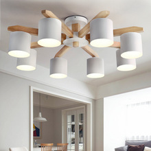 Żyrandol w stylu nordyckim nowoczesny żyrandol LED E27 z żelaznym abażurem do salonu zawieszka oprawa oświetleniowa drewniane oświetlenie LED
