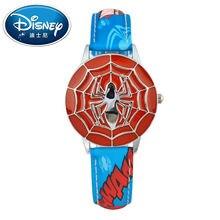 2017 Disney Kids Reloj Niños Reloj Super Héroe Moda Simple Fresco Relojes de Pulsera de Las Muchachas de Mickey Mouse reloj de Cuero de Regalo
