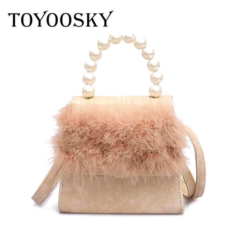 bb4e48a0b32c TOYOOSKY Women Pearl handle Shoulder Bags Ladies Handbags Round with Fur  Messenger Crossbody Bags for Girls Ladies Flag Females-in Shoulder Bags  from ...