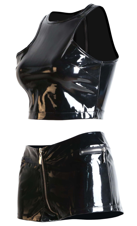 UKSTOCK Womens Shiny PU Leather Bodycon Bodysuit Clubwear Jumpsuit Top Pants Set