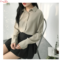 Spring Thick Chiffon Turn-down Polo Collar Long Sleeve Blousing Shirt Soft Dropped Shoulder Large Size Chiffon Tops
