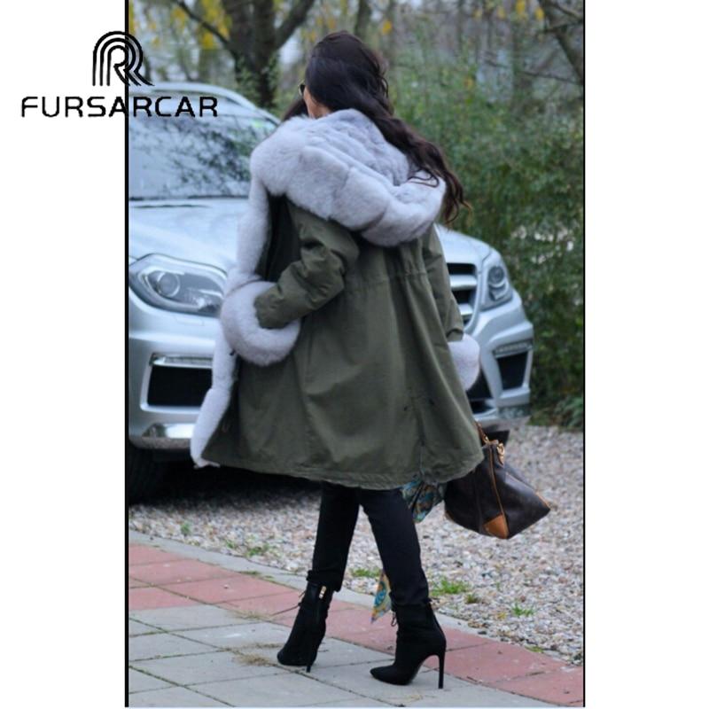 Fursarcar Réel 2018 Renard Manchette Femelle Épais Avec Manteau Luxe Fourrure Et De Femmes Casual Col Parka Hiver New rrxCqSwd