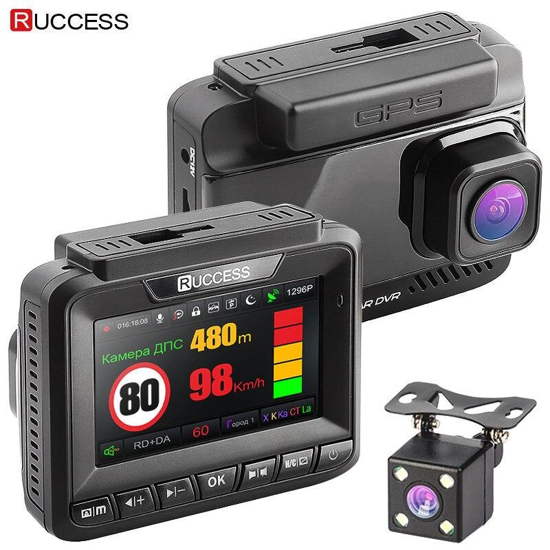 "Ruccess 3 ב 1 לרכב GPS גלאי רדאר DVR FHD 1296 P 1080 P עדשה כפולה מקליט וידאו רכב נגד מכ""ם מהירות מצלמת מצלמת מקף מצלמה"