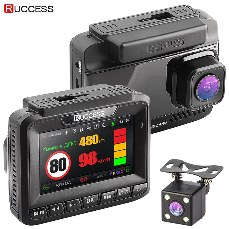Ruccess Rivelatore Del Radar GPS 3 in 1 Auto DVR FHD 1296 p 1080 p Dual Lens Dash Cam Speed Cam anti-Radar Video Recorder Videocamera per auto