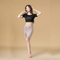 Professional women belly dance clothes Sexy top+short skirt +Waist chain 3pcs belly dance set for girls latin dance suit