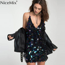 NiceMix Sexy Deep V-Neck Dress Women Bling Sequined Patch Dresses  Plus Size Elegant Party Slim Bandage Vestidos