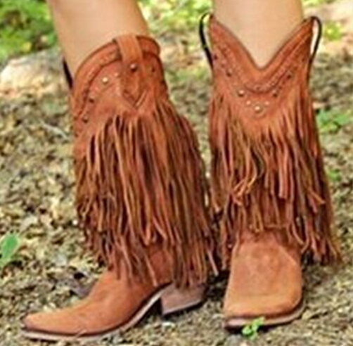 2017 Spring brand mid-calf tassels boots rivets studded fall winter slip-on chunky heels motorcycle boots fashion shoes