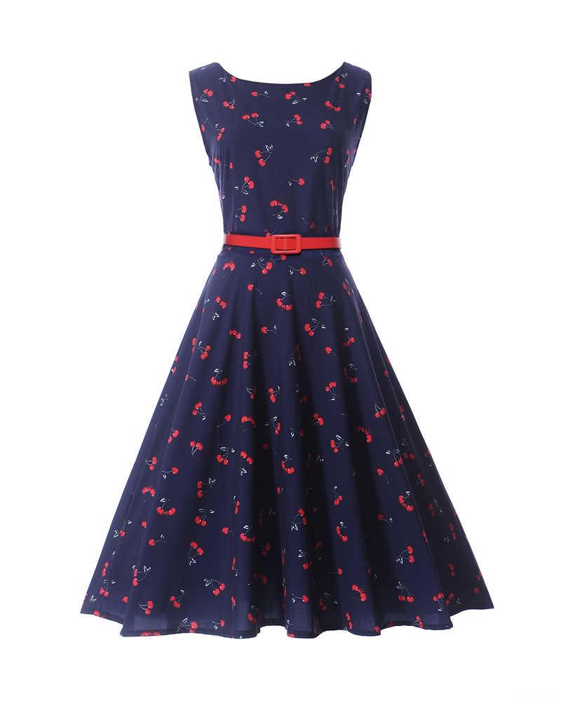 Kleider 16 s 16 s Kirsche Gedruckt Sommer Stil Retro Audrey