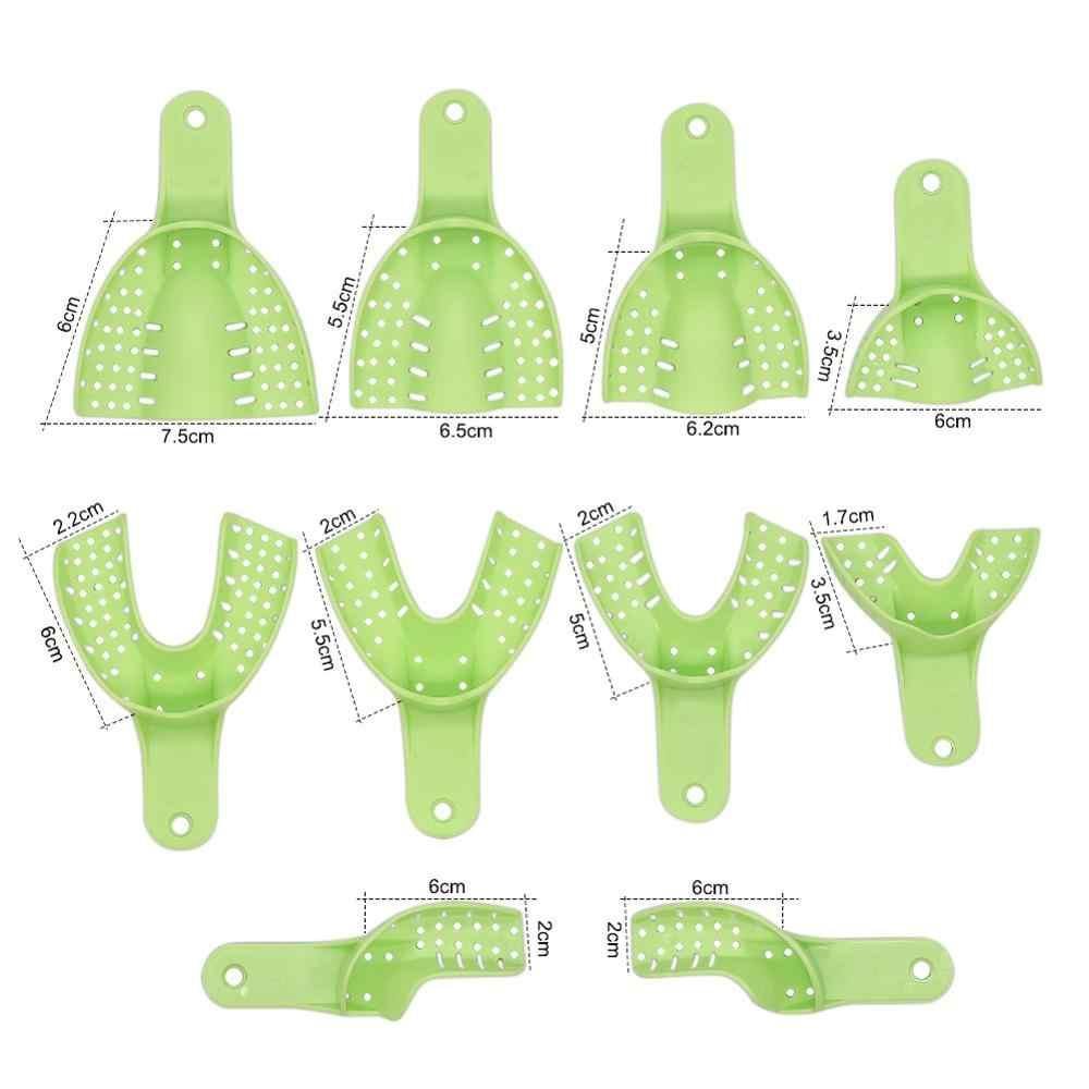 10 Pcs/Kotak Hijau Menonton Ya Mulut Autoclavable Central Dental Supply Kesan Nampan Gigi Tray Juru Bicara