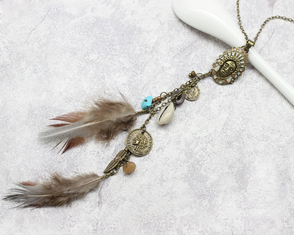 HTB1KtYzmBTH8KJjy0Fiq6ARsXXaQ - Women Long Necklace Indian Coin Stone Feather Fringed Necklaces Decorative Sweater Chain Collar Pendant Choker Bijoux (XL012)