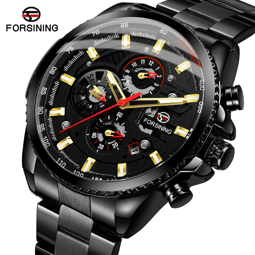 Forsining Black Stainless Steel 3 Dial Calendar Display Men Business Automatic Mechanical WatchForsining Black Stainless Steel 3 Dial Calendar Display Men Business Automatic Mechanical Watch