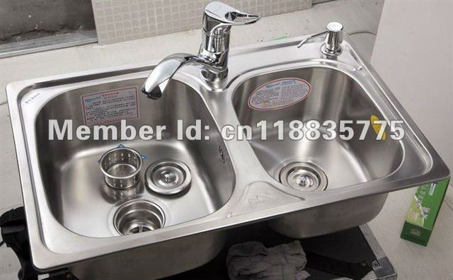 Medium image of fashion new 69 43 stainless steel double bowls kitchen sink with faucet aet8028