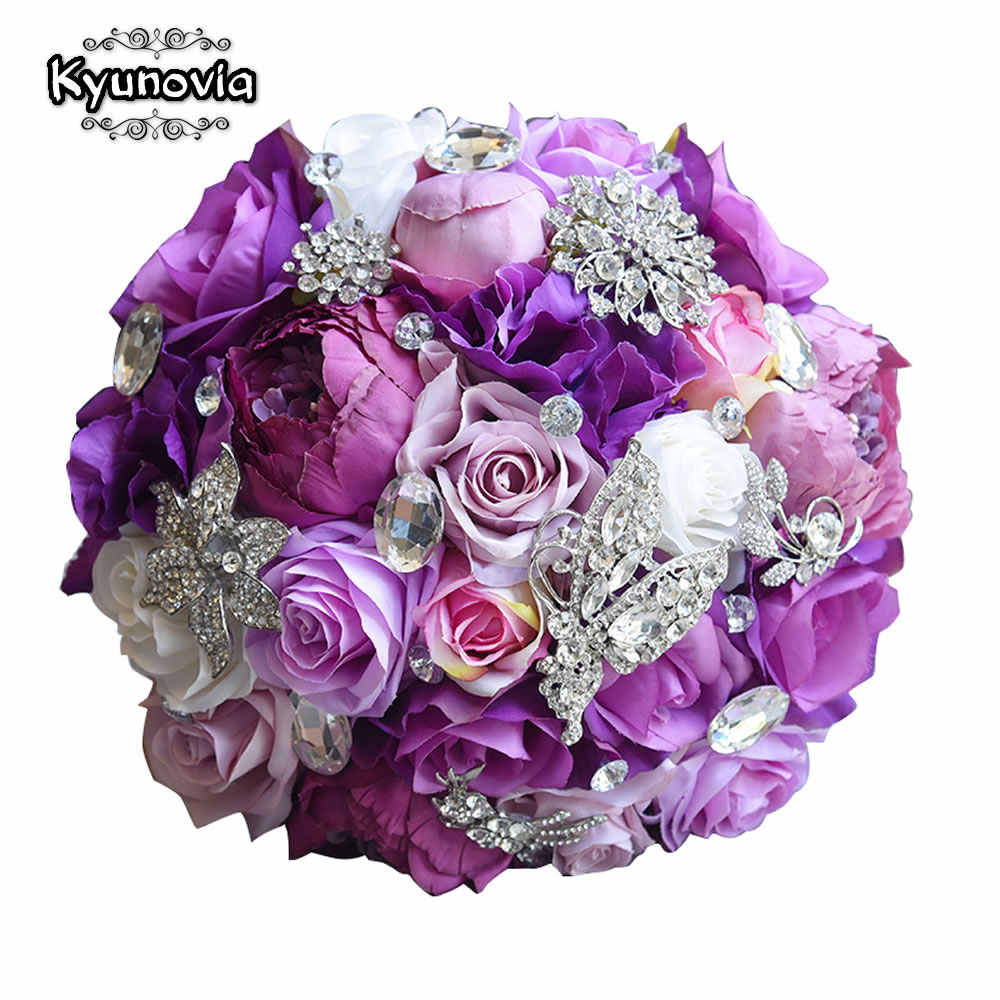 Kyunovia Sutra Pernikahan Bunga Buatan Rose Bouquet Bridesmaid Bouquets Roses 3 PCs SET Ungu Aksen Bros Bridal Bouquet FE83