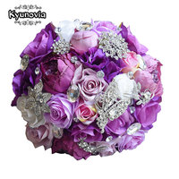 Kyunovia Silk Wedding Flower Artificial Rose Bouquet Bridesmaid Bouquets Roses 3PCs SET Purple Accent Brooch Bridal
