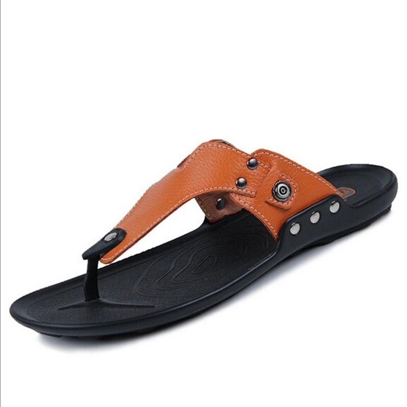neudeli 2017 new summer shoes cow split leather flip