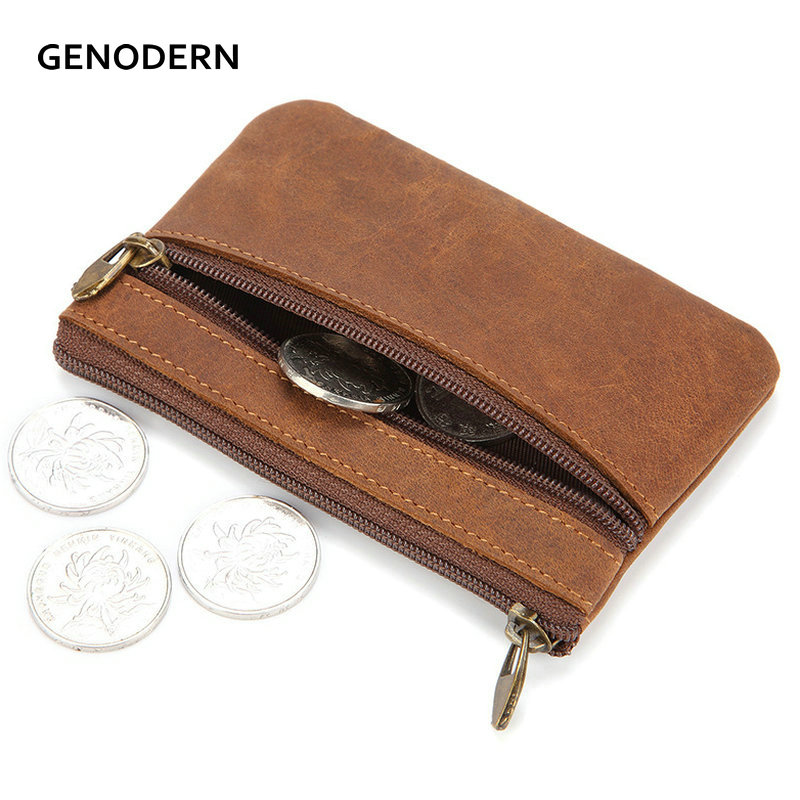 GENODERN Vintage Crazy Horse Leather Men's Coin Purse Genuine Leather Zipper Coin Wallet Retro Key Holder Small Money Bag
