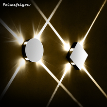 Feimefeiyou applique murale luminária redonda quadrado lâmpada de parede do quarto luz corredor escada hotel conduziu a iluminação interior