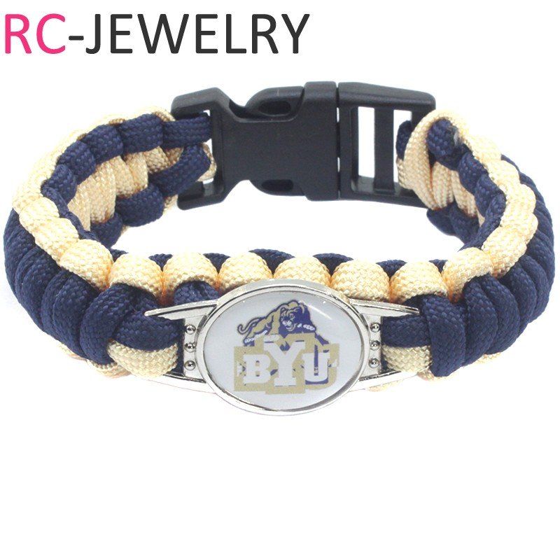 4# University Football Jewelry NCAA BYU Cougars Outdoors Survival Bracelet Custom Paraco ...