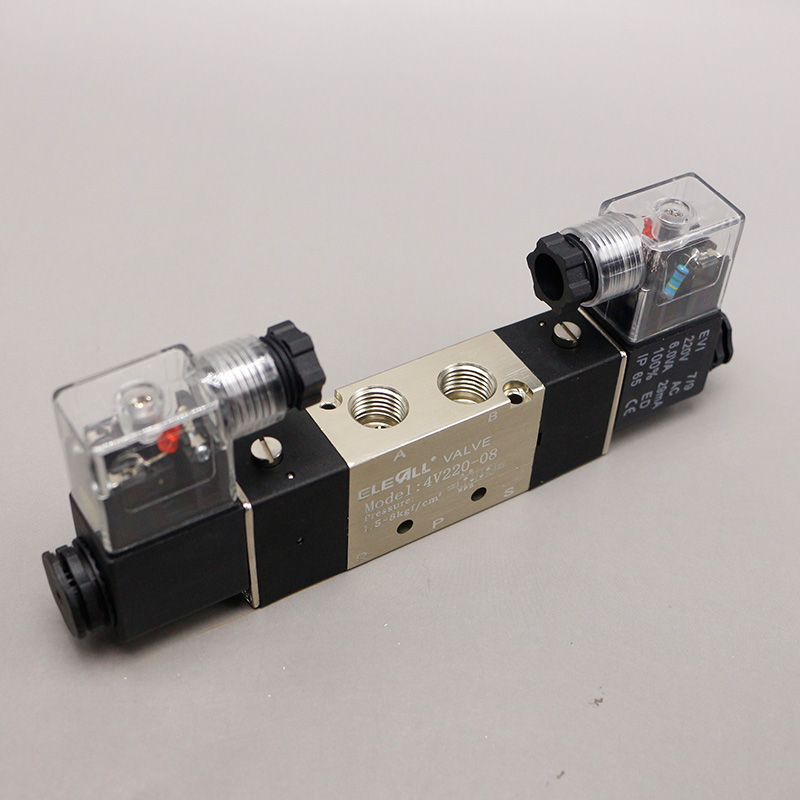 1/4'' 4V220-08 AC220V 5 Ways 2 Positions Pneumatic Air Solenoid Valve Double Head high quality 1 4 4v220 08 5 ways 2 positions air control solenoid valve dual head