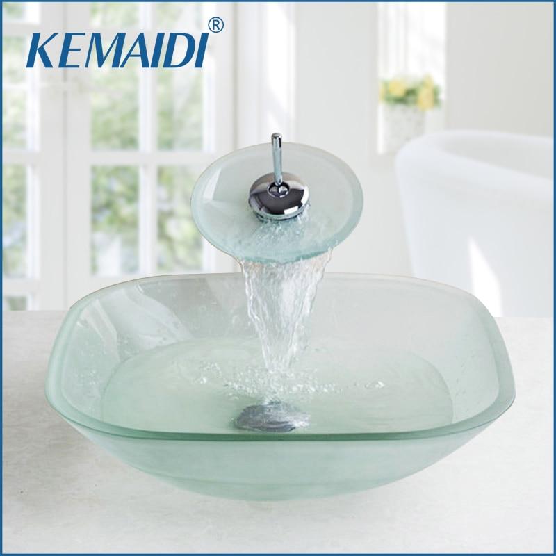 Kemaidi Frosted Square Glass Bowl Bathroom Sink Decor Art Wash Basin With Waterfall Faucet Tempered Glass Bathroom Sink Set Super Sale 67b4de Goteborgsaventyrscenter