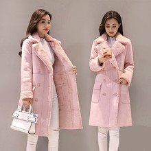 цена на BR Winter Woman Shearling Coats Faux Suede Leather Jackets Plus Size Loose Coat Medium Long Faux Lambs Wool Coat  size XS-2XL