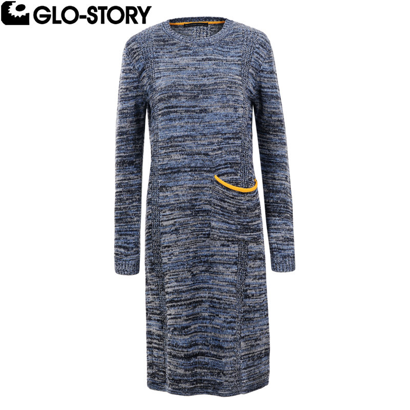 GLO-STORY Women 2018 Mel Color Yellow Pocket Knee-length Elegant Winter Sweater Dresses Women Knitted Long Autumn Dress 5634