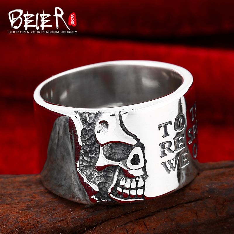 Beier 925 silver sterling jewelry 2015 punk skull and letter ring high polished man ring D0300 beier 925 silver sterling jewelry2015 punk animal ring hailand four hands inlaid gems elephant man ring d0711