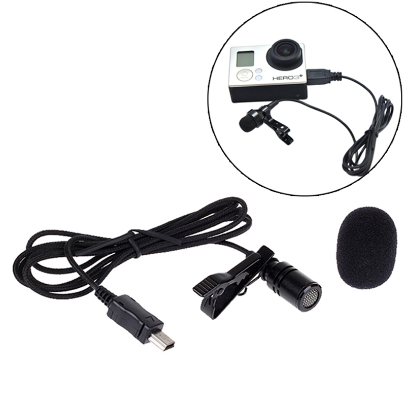 stereo mini usb professional microphone with clip grip for gopro hero 3 3 4 sport action camera. Black Bedroom Furniture Sets. Home Design Ideas