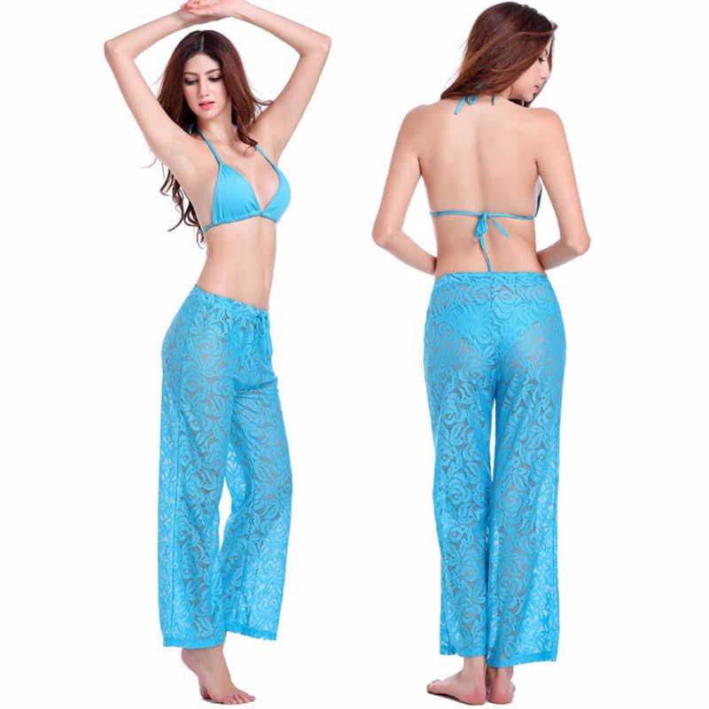 Yaz Seksi Düz Spor Pantolon Nefes Hollow Tığ Dantel Kadın plaj pantolonları Geniş Bacak Pantolon Kapriler