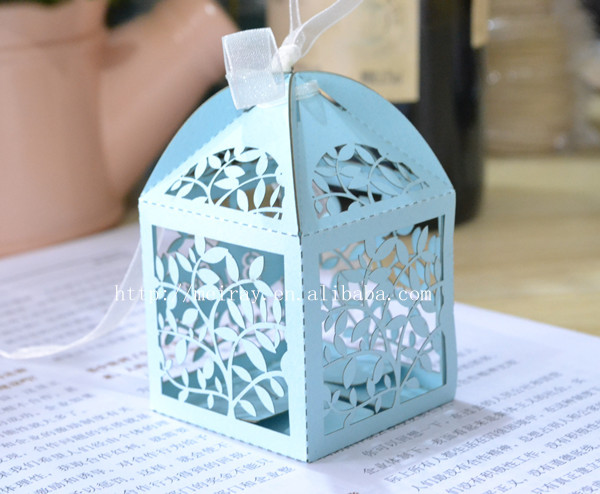 Kids Wedding Candy Box Laser Cut Light Blue Favor Bo With Custom Names In Gift Bags Wring Supplies From Home Garden On Aliexpress