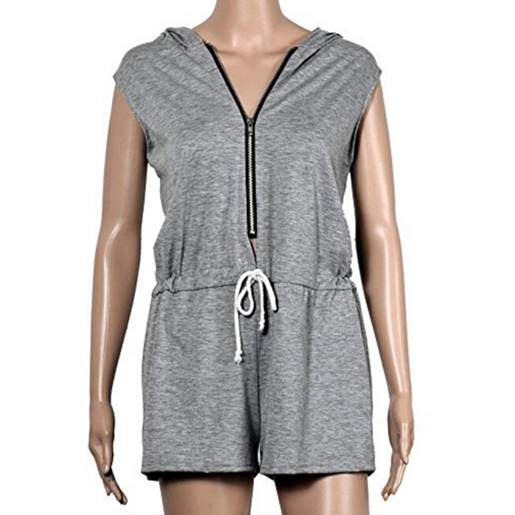 46ec95819145 Women Hoodie Jumpsuits Bodysuit Sexy Half Zip Up Sleeveless Casual Solid  Rompers Ladies Clothes Black Grey-in Rompers from Women s Clothing on ...